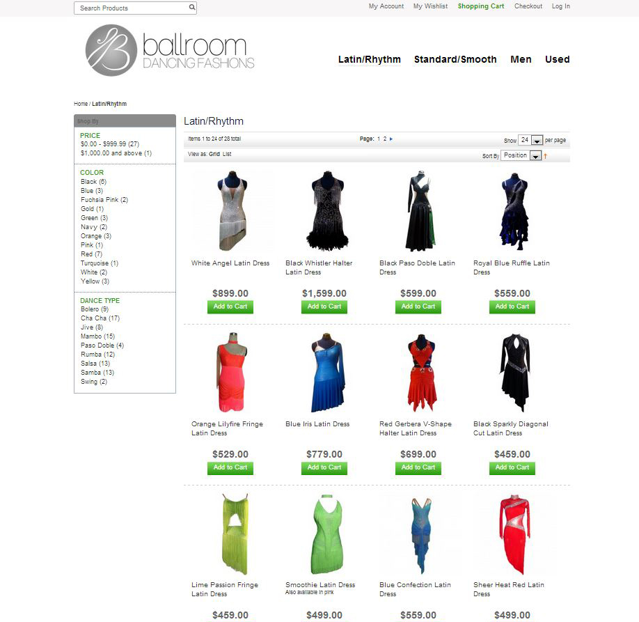 Ballroom Dancing Fashions Category Page